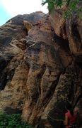 Rock Climbing Photo: Caroline belaying Vince for his onsight before she...