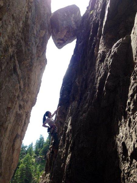 Mel Merrihew climbing this gem.