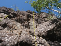 Rock Climbing Photo: Pitch one starts low in the forest.