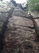 Rock Climbing Photo: Pete Cleveland looking down Hammer Crack