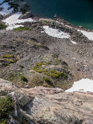 Rock Climbing Photo: Looking down from the top of the first, 250' pitch...
