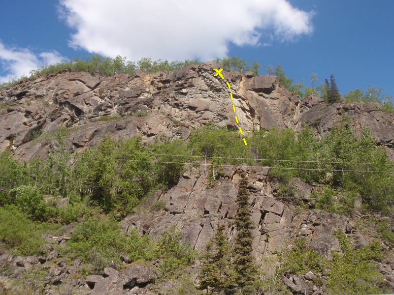Mental Merger climbs the sport line on the right side of the steep upper wall.