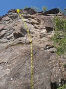 Rock Climbing Photo: Start on the slab start to gain a bolt 25' up the ...
