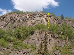 Rock Climbing Photo: Dreadful Lock climbs past the roof on the right si...