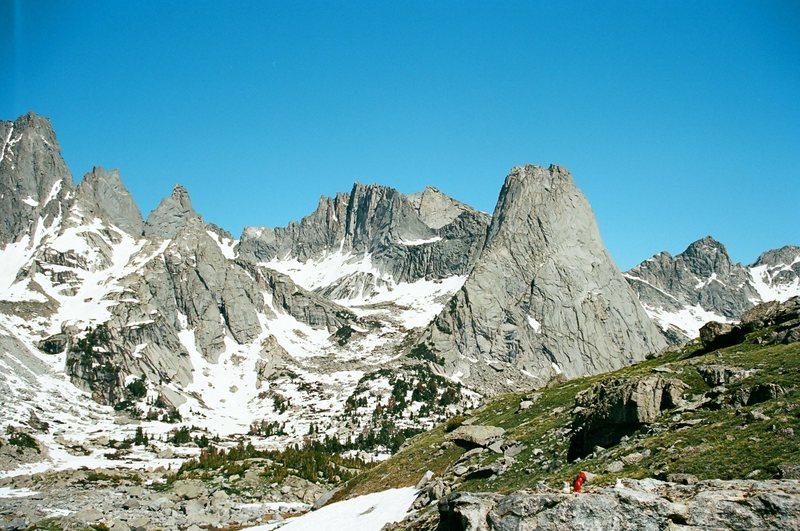 Looking down into the Cirque of the Towers from the climber's pass