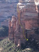 Rock Climbing Photo: East Face of the 800' Texas Tower,Texas Canyon . U...