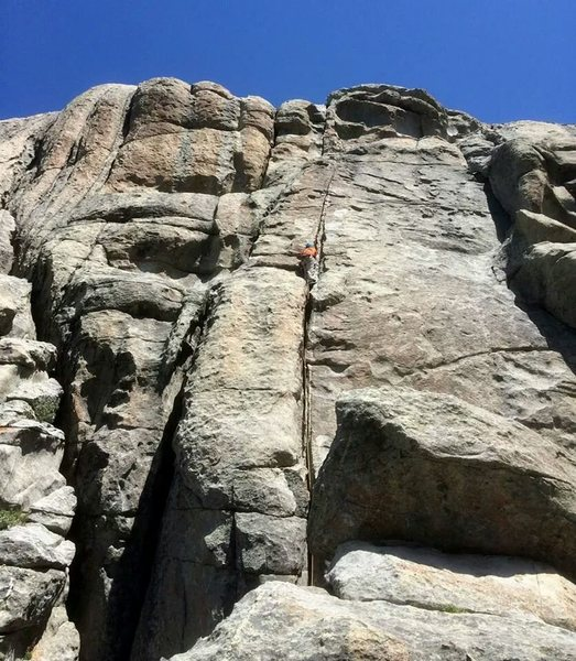 Me leading up the homo...such a fun climb, the head wall is a blast too bad its so short