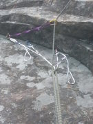 Rock Climbing Photo: Anchor at the top of the second pitch. I used an e...