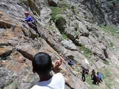 Rock Climbing Photo: An Indian school kid on Singular Homology, getting...