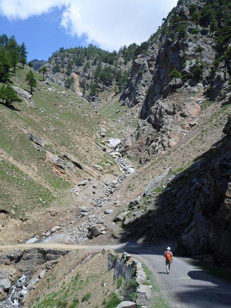 Road, creek, and Kalpa cliffs.