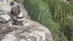 Rock Climbing Photo: Sketchy anchor atop the east face of monitor rock....