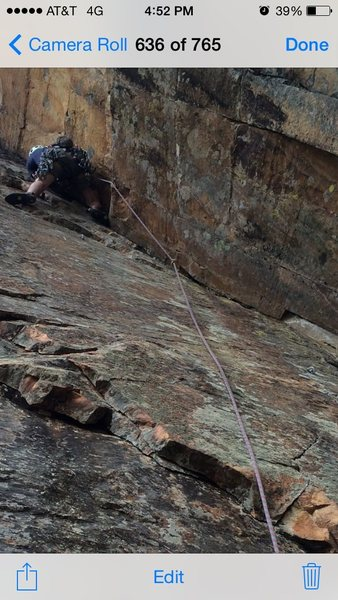 Rock Climbing Photo: Garrett R. leading London D. pitch without clippin...