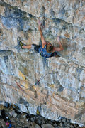 Rock Climbing Photo: The hard, midway crux that guards the last good re...