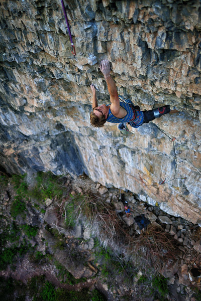 In the thick of the redpoint crux.<br> <br> Photo: Keith Ladzinski.