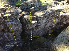 Rock Climbing Photo: shows the three routes in Koda's Cave