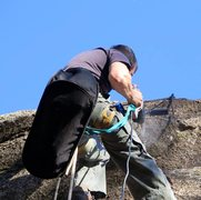 Rock Climbing Photo: drilling for the chains on my latest project
