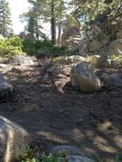 Rock Climbing Photo: Leave the approach trail/mt bike trail here and he...