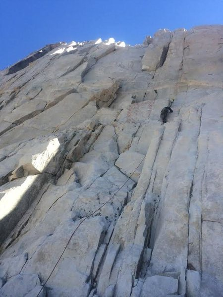 Rock Climbing Photo: The route goes straight up the crack system above