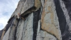 Rock Climbing Photo: Kent pulling the roof at the crux