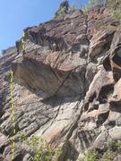 Rock Climbing Photo: Climb the light colored rock past the corner of th...