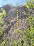 Rock Climbing Photo: 8 Years Later climbs the hard face near the top of...