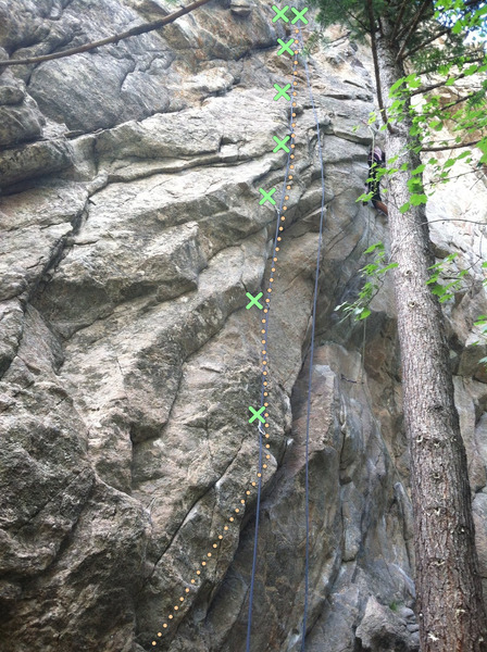 Rock Climbing Photo: Merry Men with approximate bolt locations.