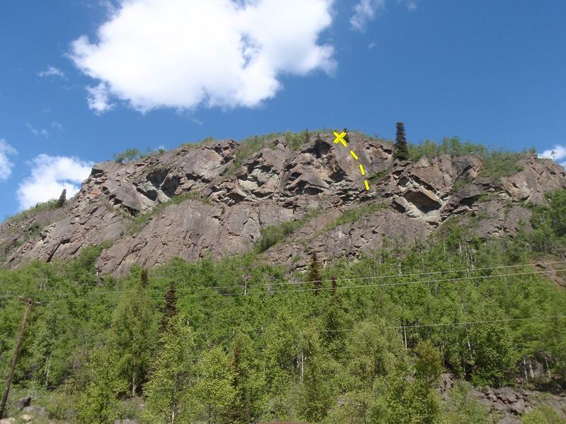 Rock Climbing Photo: Follow the darker rock to the spruce tree.