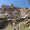 Scramble up the gully 20' to find this route.