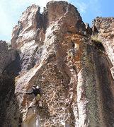 Cory Hall Climbing at Hatun Machay Peru.