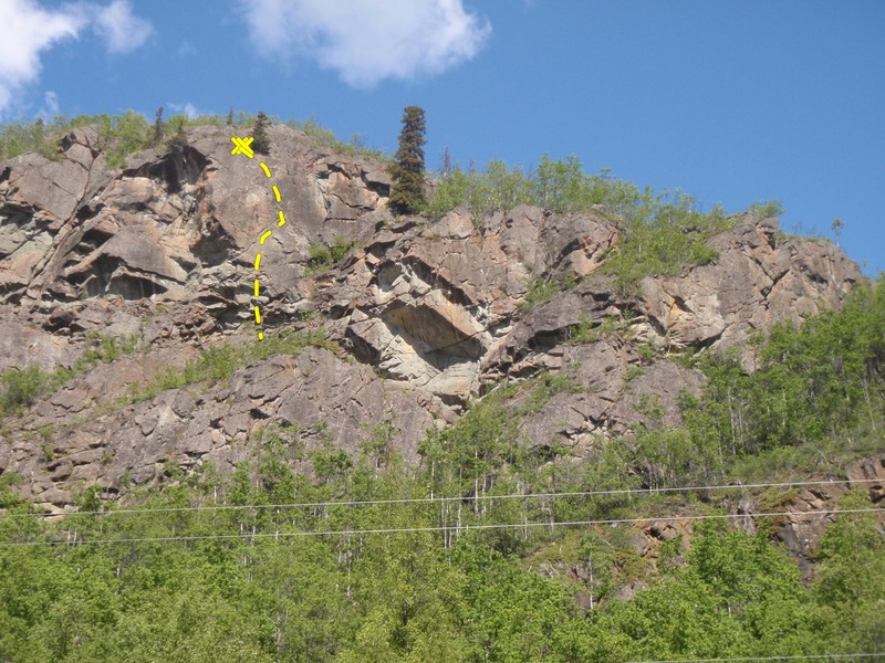 Rock Climbing Photo: Follow the 45 degree crack right under the red roc...