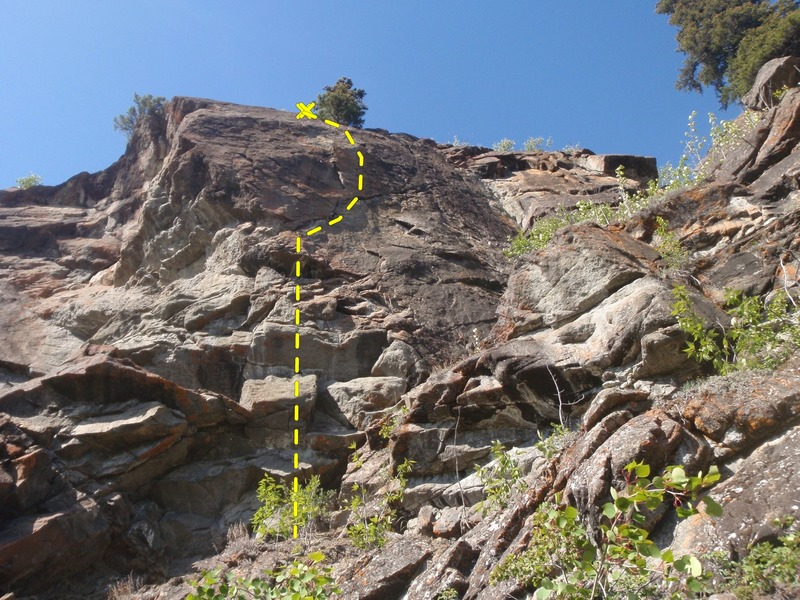 Start on the overhanging light rock then hook right.