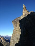 Third pitch summit traverse.  Easy climbing, but a fall would be catastrophic.