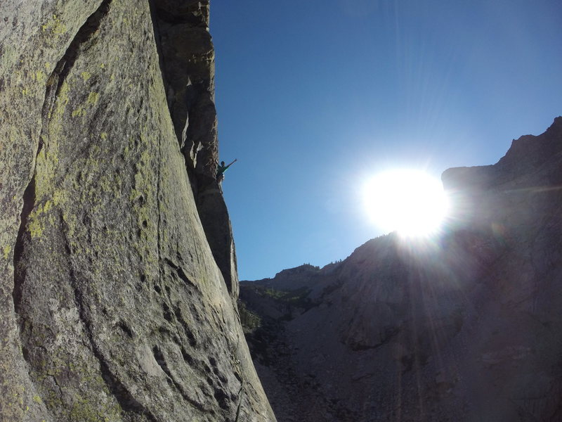 Rock Climbing Photo: Butters leading up p5