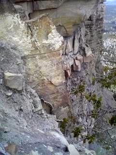 Rock Climbing Photo: Nice flake, then loose face below Abyss Crack.