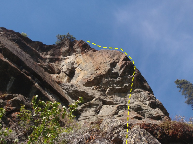 Start on the first bolt 11' up then cut right oround the arete.
