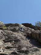 Rock Climbing Photo: Climber on the upper section of Beginner's Mind