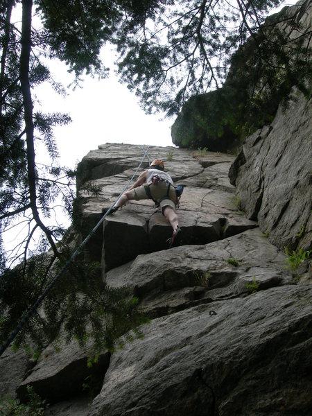Dave hops aboard the hanging slab.