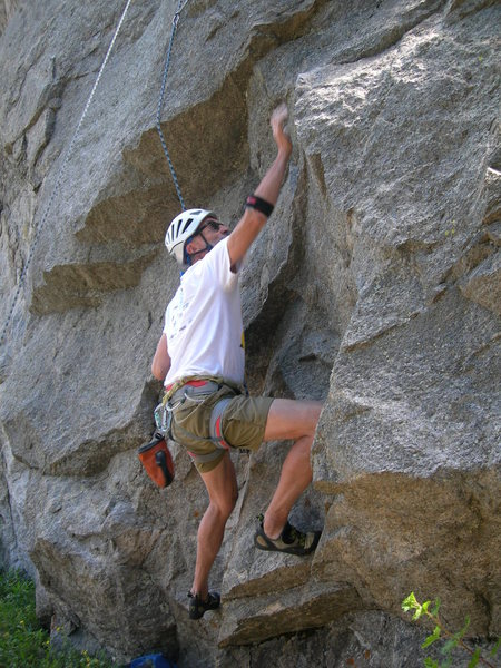 Doug engages the crux.
