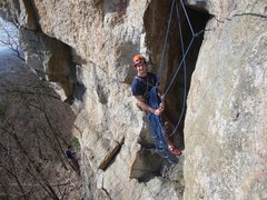 Rock Climbing Photo: Belay station on top of P1.