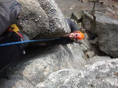 Rock Climbing Photo: In the offwidth at the start of the route.