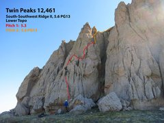 Rock Climbing Photo: Route topo for the first 2 pitches.