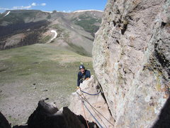 Rock Climbing Photo: Finishing up the first pitch into the alcove.