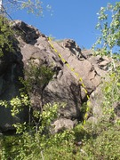 Rock Climbing Photo: Start on the bolders that are wedged in the dihedr...