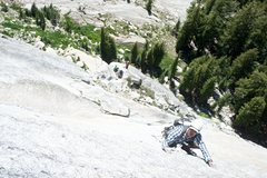 Rock Climbing Photo: Greg pulls the knobs on pitch 2 of Shagadelic.