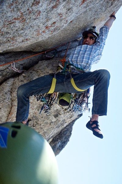 Greg helpfully demonstrates the short-person beta for the opening moves on pitch 2 of West Crack.