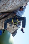 Rock Climbing Photo: Greg helpfully demonstrates the short-person beta ...