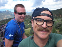 Rock Climbing Photo: 11 July 2014. Ryan and I at the Top of White Twin ...