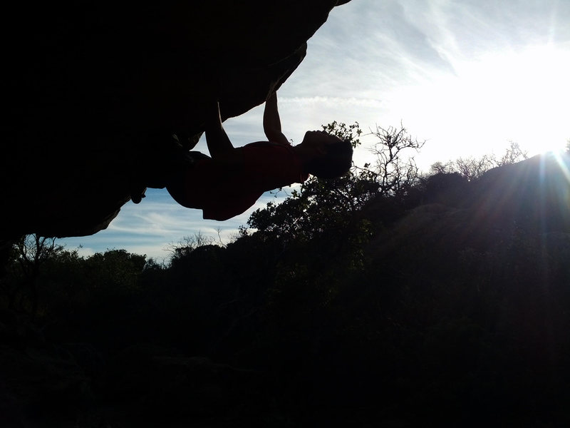 Rock Climbing Photo: Working through the crux moves.