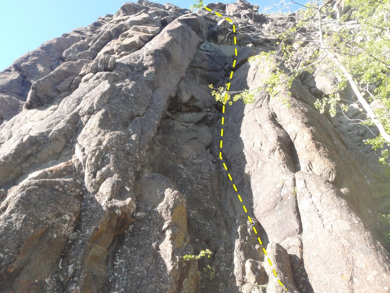 Climb the right dihedral on ok rock.
