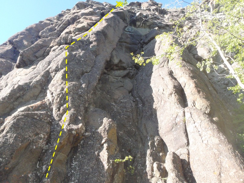 Look for the bolts on the arete to locate Fine Line.